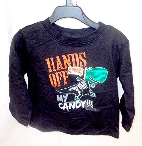 Halloween Black T-shirt Costume Hands Off My Candy Dinosaur Infant 2T NWT]()