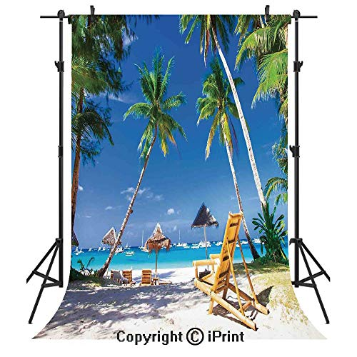 Seaside Photography Backdrops,Sun Bed Under Palm Trees Tropical Oceanside in Boracay Island Image Print,Birthday Party Seamless Photo Studio Booth Background Banner 5x7ft,Green Blue and White]()