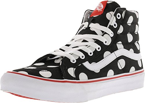 cc0fde35c08cf6 Galleon - Vans Sk8-Hi Slim Polka Dot Black Fiery Red Ankle-High Canvas  Skateboarding Shoe - 9.5M 8M