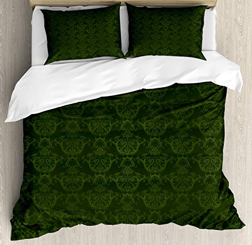 Lunarable Hunter Green Duvet Cover Set Queen Size, Victorian Damask Rococo Renaissance Swirled Classic Floral Petals Pattern, Decorative 3 Piece Bedding Set with 2 Pillow Shams, Hunter Green