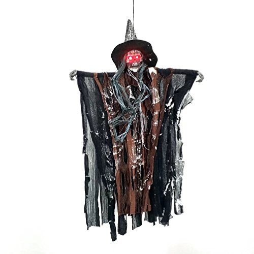 AZOWA 27.5'' Animated Cool Scary Hanging Grim Reaper Skull Witch Ghost for Best Halloween Yard Decorations Prop (Brown, 15.7'' X 27.5'')