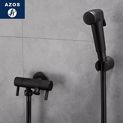 Azos Bidet Faucet Pressurized Shower Nozzle Brass Black Cold Water Two Function Washing Machine Pet Bath Toilet Round PJPQ023A by AZOS