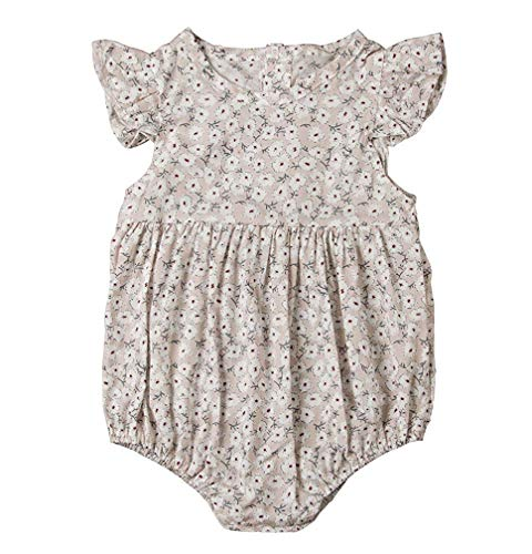 GRNSHTS Infant Baby Girls Ruffles Sleeve Romper Floral Print Vintage Jumpsuit Outfit Sunsuit Clothes Summer (70/0-6 Months, White)