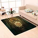 Nalahome Custom carpet or Medieval Secret Passage with Torch and Golden Clock on Wall Mystery in Temple Print Grey Teal area rugs for Living Dining Room Bedroom Hallway Office Carpet (32.4''x118'')