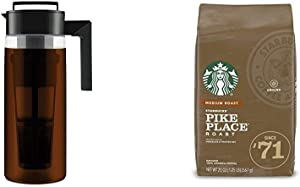 Takeya Patented Deluxe Cold Brew Iced Coffee Maker with Airtight Seal & Silicone Handle, 2 Quart & Starbucks Medium Roast Ground Coffee -; Pike Place Roast -; 100% Arabica -; 1 bag (20 oz.)