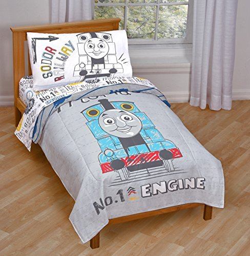 Thomas The Tank Engine 4 Piece Gray Toddler Bed Set