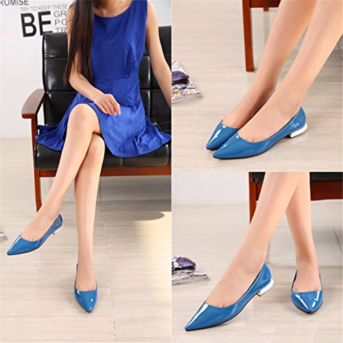 QIYUN.Z Elegante Frauen Sexy Flache Ferseschuhe Süßigkeitfarben-Glanzleder Spitziger Zehe Partei Blau