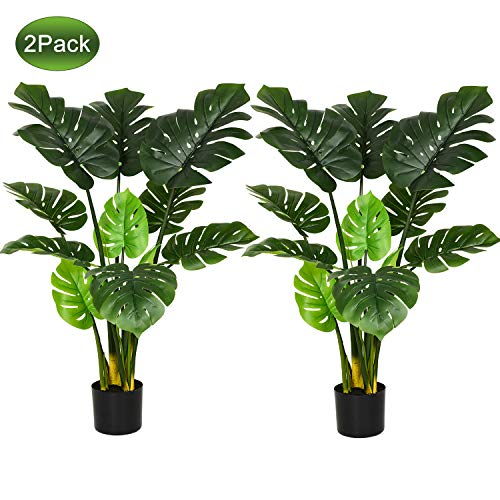 """Woooow 2Pack Artificial Monstera Deliciosa Plant 43"""" Fake Tropical Palm Tree, Perfect Faux Swiss Cheese Plant for Home Garden Office Store Decoration 1"""