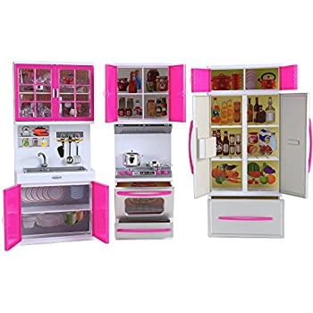 39 deluxe modern kitchen 39 battery operated toy kitchen playset perfect for use with - Amazon cocina juguete ...