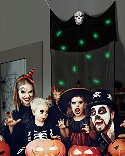 QUALITELL Hanging Ghost Monsters Halloween Decoration - Halloween Scary Decorations Outdoor & Indoor, Hanging Skeleton Prop with Multiple Night Luminous Monsters for Halloween Party Decorations