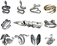 11 Pcs Vintage Frog Rings Cute Animal Open Ring Retro Snake Rings Set Full Finger Ring Statement Biker Punk Ri