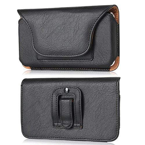 Horizontal Faux Leather Travel Belt Clip Holster Pouch with Card Slots Compatible Samsung Galaxy S9 / LG Aristo 2 Plus/Aristo 2 / Phoenix 4 / Rebel 4/3 / Risio 3 / Fortune 2 / K8(2018) (Black)