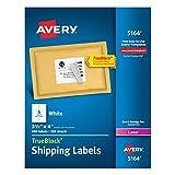 Avery Shipping Address Labels, Laser Printers, 600 Labels, 3-1/3x4 Labels, Permanent Adhesive, TrueBlock (5164)