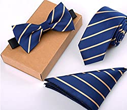 Newland Polyster Skinny Neck ties and Bowtie Pocket Square 3pcs Set for Gifts (22)