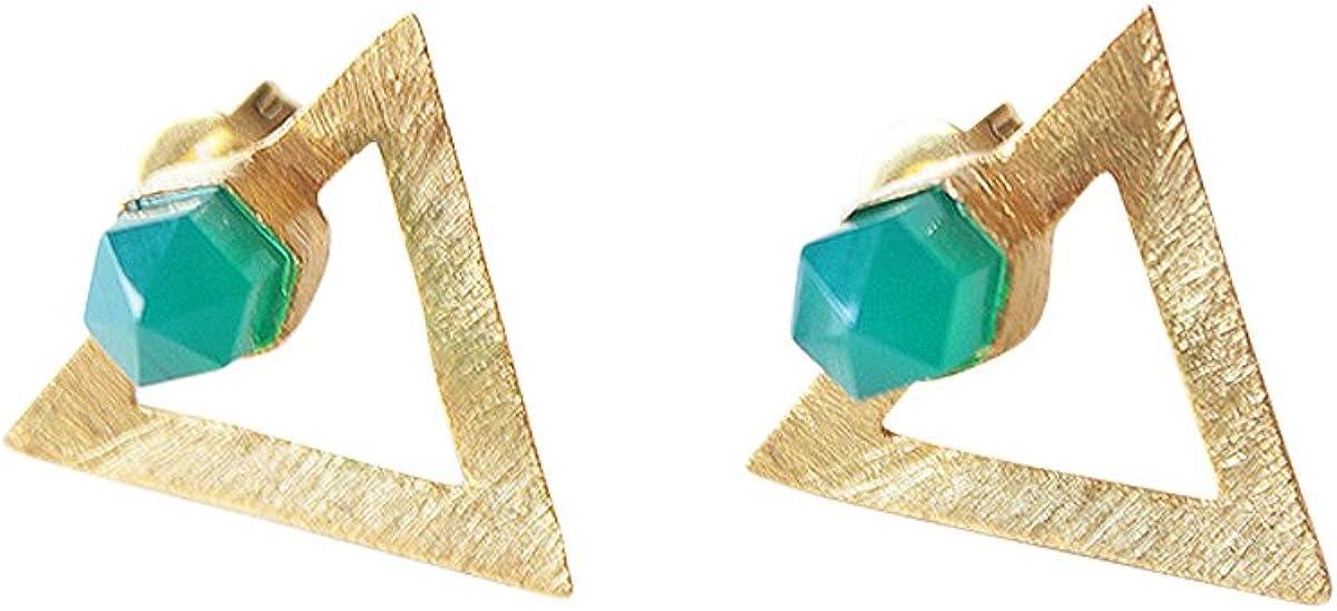 Pendientes Mujer Dorados Piedra Semipreciosa Onix Verde Natural - Joyas Pendientes Triangulo Oro 18k