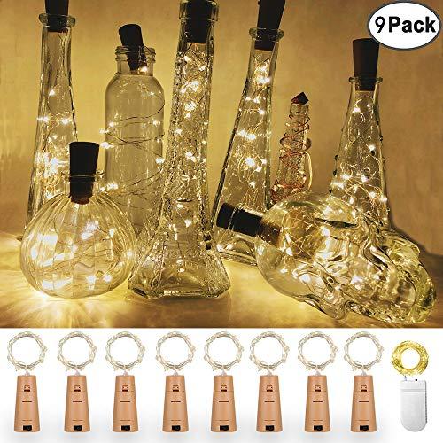 IHUIXINHE Wine Bottle Cork Lights, 9 Packs 20 LED Battery Powered Bottle Stopper Copper Wire Lights for Wedding, DIY, Halloween, Birthday -