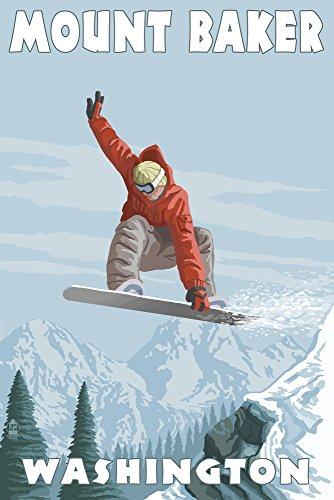 Mount Baker, Washington - Snowboarder Jumping (9x12 Art Print, Wall Decor Travel ()