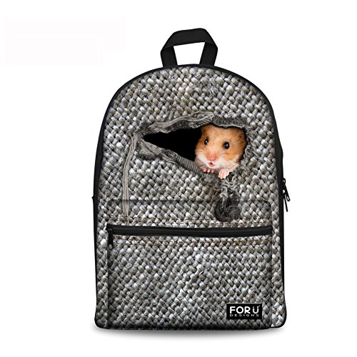 CHAQLIN Cute Little Mouse Hawk Cat Pet Print Backpack Teen Back to School Book - Backpack For Girls Hawk