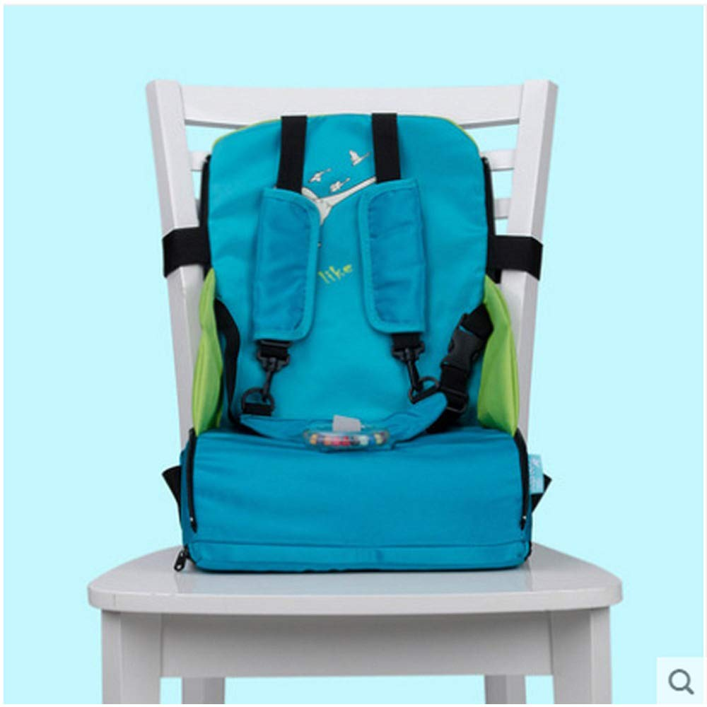 Nianzhiqianღ Baby Booster Seat Childrens Portable Foldable Harness Baby Toddler Infant Dining Chair On The Go Travel Storage Chair Baby Table Stool Blue