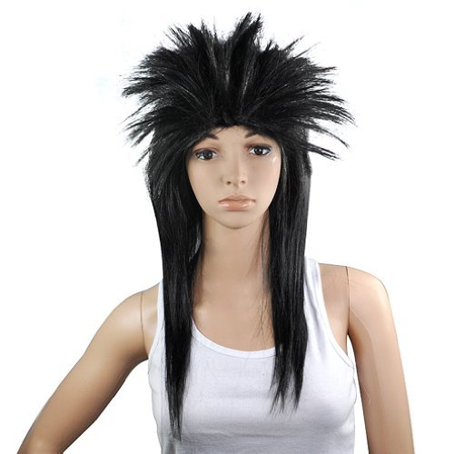 [Gleader 80s LADIES GLAM PUNK ROCK ROCKER CHICK TINA TURNER WIG FOR A FANCY DRESS COSTUME - Black by] (80s Chick Costume)