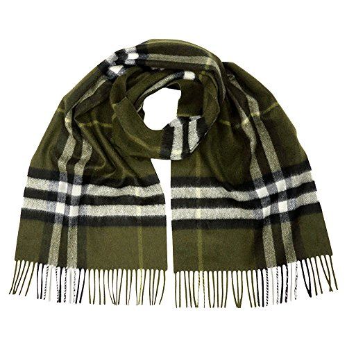Burberry Classic Cashmere Scarf in Check - Olive by BURBERRY