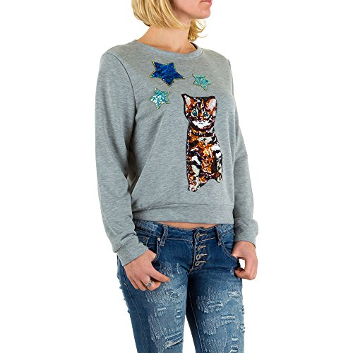 Pailletten Sweatshirt Für Damen , Grau In Gr. M bei Ital-Design