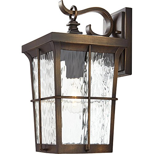 Home Decorators Collection 23482 1-Light Golden Bronze Outdoor 7.5 in. Wall Mount Lantern with Clear Water Glass