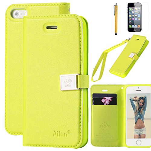 iPhone 5s case,iPhone SE case,iPhone 5 case,by Ailun,Wallet case,PU leather case,credit card holder,Flip Cover Skin[YellowGreen] with screen protect and styli (Five Pen Case)