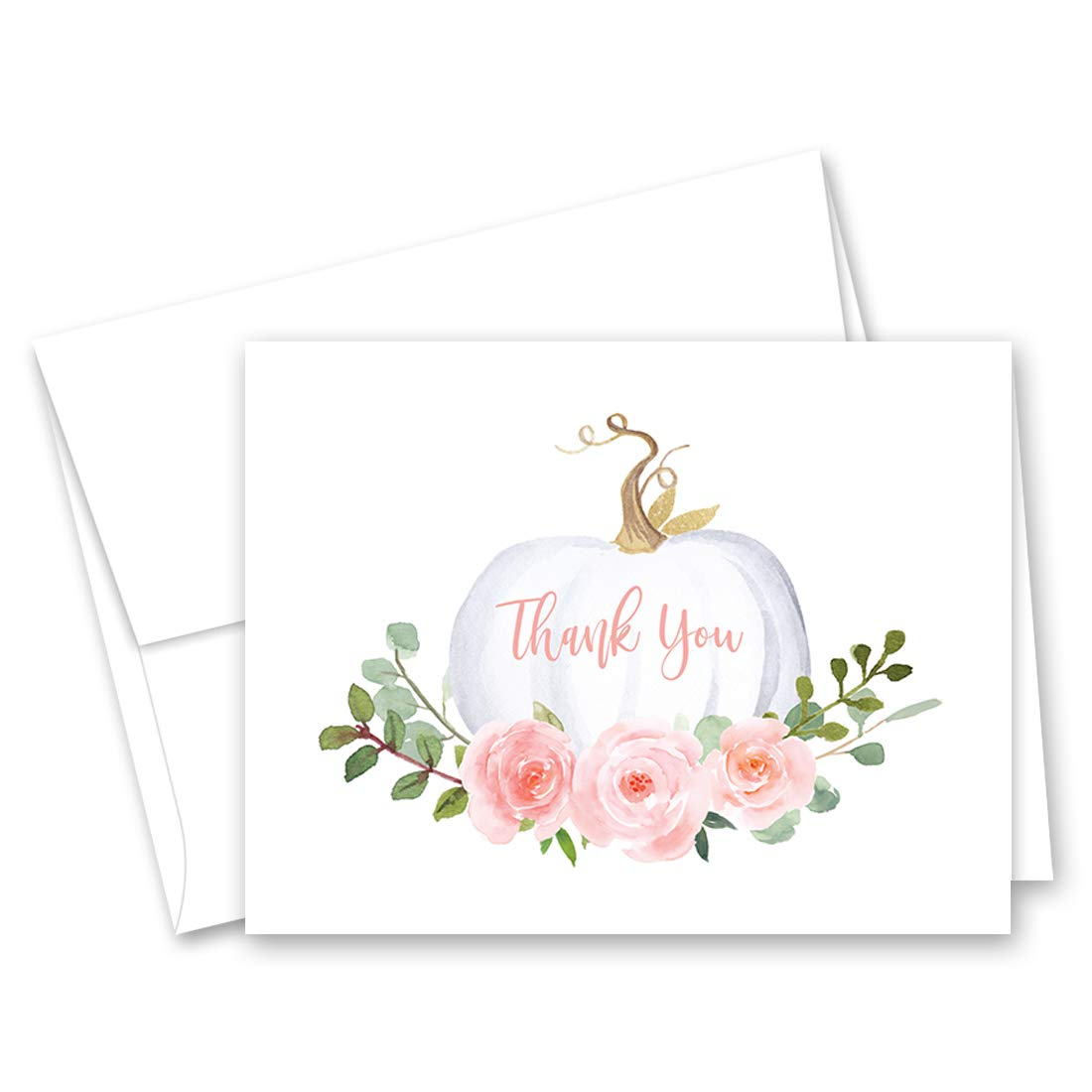 Floral Pumpkin Thank You Cards and Envelopes - 50 cnt by InvitationHouse