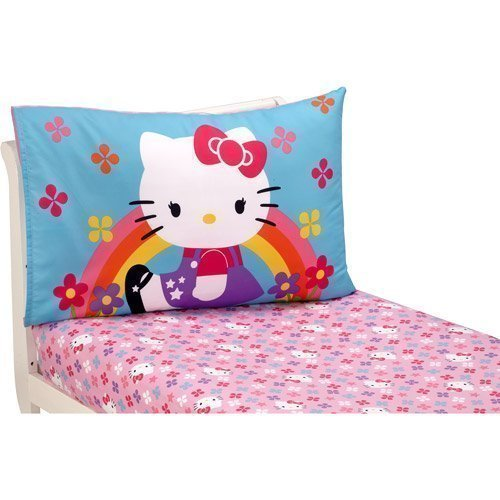 Hello Kitty Stars and Rainbows 2-Pack Toddler Sheet Set by Sanrio (Toddler Kitty Bedding Hello)