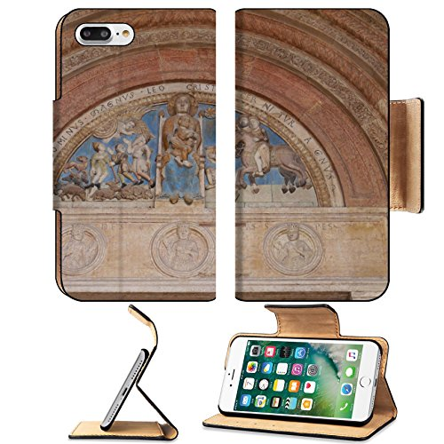 Cathedral Panel - Luxlady Premium Apple iPhone 7 Plus Flip Pu Leather Wallet Case iPhone7 Plus 34701988 The colourful madonno relief of the main portal of the cathedral in Verona in Italy