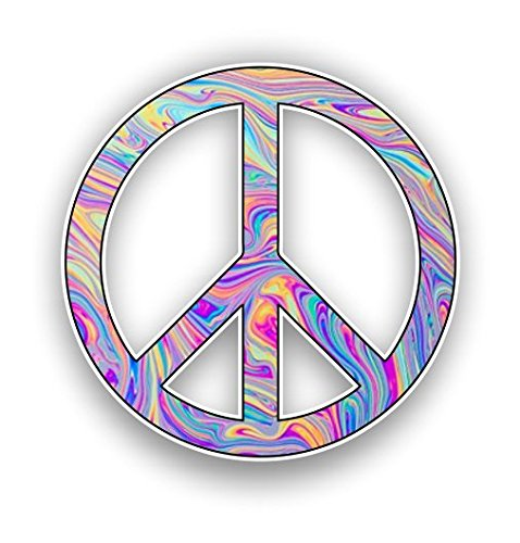 Vinyl Junkie Graphics Peace Sign Custom Graphic Decal Window Laptop Car Truck Window Sticker (Tie Dye)