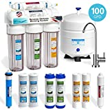 100 gpd ro system - Express Water 5 Stage Under Sink Reverse Osmosis Filtration System 100 GPD RO Membrane Filter Modern Faucet Clear Housing Ultra Safe Residential Home Drinking Water Purification Extra Set of 4 Filters
