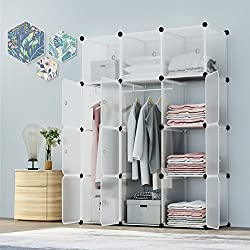 KOUSI Portable Closet Clothes Wardrobe Bedroom Armoire Storage Organizer with Doors, Capacious & Sturdy, Transparent White, 6 Cubes+2 Hanging Sections
