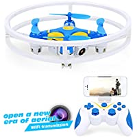 Dwi Dowellin Mini Drone With Camera For Beginners With Altitude Hold 2.4Ghz 4CH 6-Axis Gyro Anti-collision RC Quadcopter UFO Aircraft D1 Blue
