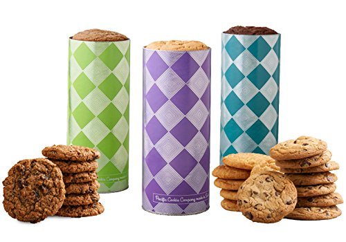 (Pacific Cookie Company Fresh Baked Chocolate Chip, Oatmeal Raisin & Snickerdoodle Cookies, 3 Dozen in 3 Harlequin Gift Towers)