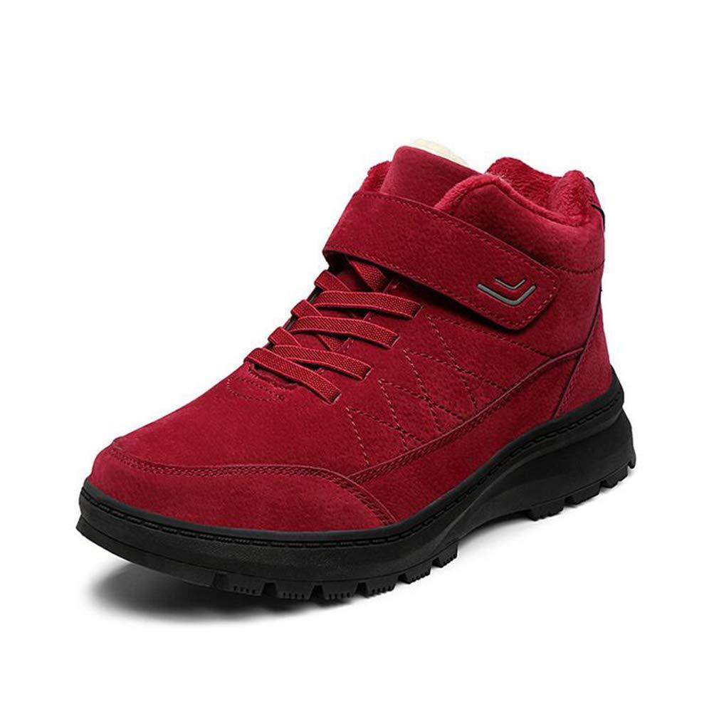 Unisex Freizeitschuhe, Winter Plus samt warme Schneeschuhe, Leder High-Top Walking Gym Schuhe, Liebhaber Laufschuhe, Outdoor-Kletterturnschuhe (Farbe : Rot, Größe : 42)