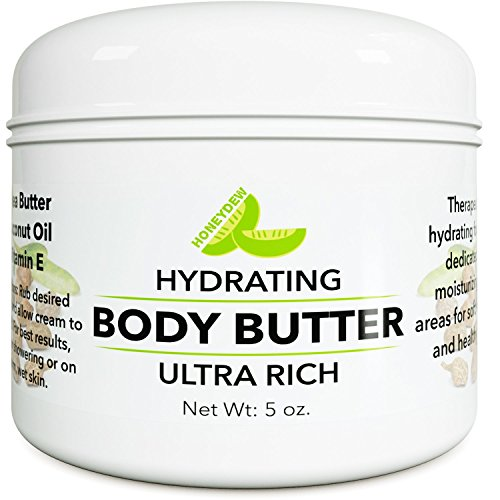Pure Body Butter Cream for Women and Men – All Natural & Fragrance Free Moisturizer for Dry Skin with Shea Butter + Coconut Oil & Vitamin E – 5 (Shea Butter Oil Moisturizer)