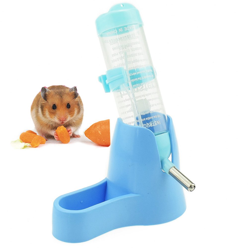 Hamster Water Bottle,Lonni 125 ML Pet Dringking Bottle Water Auto Dispenser with Food Container Base for Hamsters Rabbit Gerbil Small Animals (125ML, Blue)
