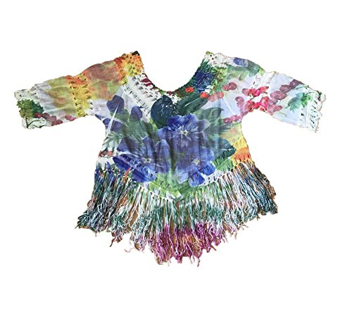 Jane Gaya Sexy Women Crochet Hollow Out Fringe Tassel Bikini Cover-ups Swimwear Beachwear (Leaves and Colorful Flowers)