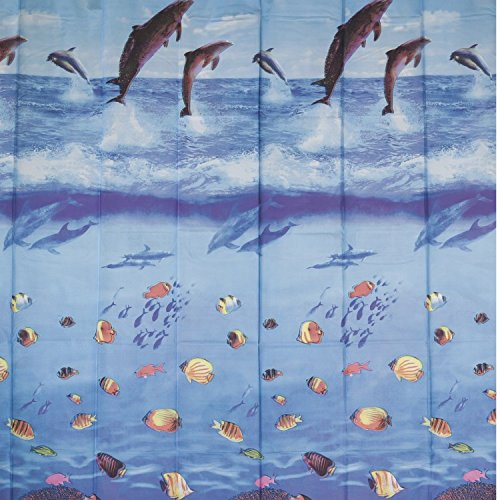 Cortina Box PVC Nauticas Colorful Bella Casa 198cmx180cm FUNDO MAR AZUL