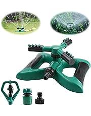Yokunat Lawn Sprinkler, Garden Sprinkler 360° 3-Arm Rotating Automatic Lawn Water Sprinkler System for Watering the Lawn Garden Courtyard Children Playing