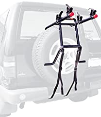 "Take your bike with you wherever you go with the Allen Sports Deluxe 2-Bike Spare Tire Mounted Rack. This rack features 12"" long carry arms that can easily accommodate up to two bikes. Individual tie-downs secure and protect the bikes, while ..."