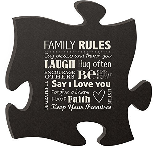 P Graham Dunn Puzzle Piece Wall Art By (Family Rules - Black)