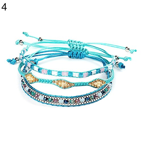 CHoppyWAVE Bracelets 3Pcs/Set Bohemian Multicolor Beaded Handmade Rope Bracelets Women Jewelry Gift - 4#