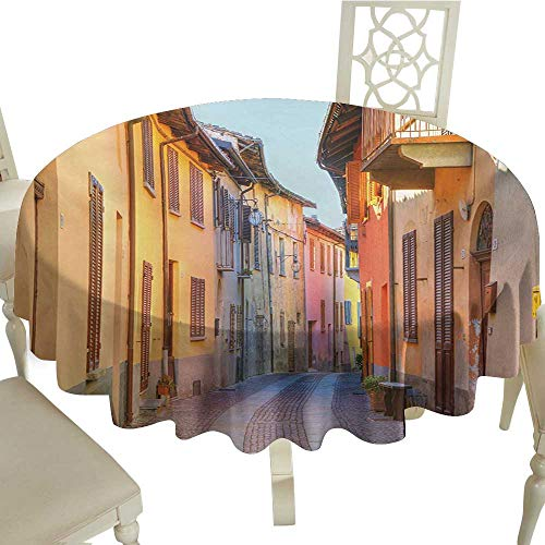 Polyester Round Tablecloth 70 Inch Italy,Narrow Paves Street Among Old Houses in Town Serralunga DAlba Piedmont,Pale Orange Brown Pink Great for,Bar & More