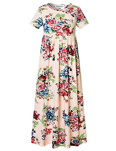 Perfashion Pink Floral Print Short Sleeves Dressy Summer Maxi Dress, Pink Floral, 4-5 Years/Height:43in -