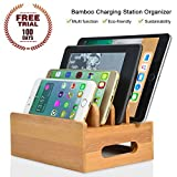 Bamboo Multiple Devices Charging Station- 4 slots Organizerfor Smart Phones, iPad, iPhone and Other Electronic Gadgets, Multifunction Mobile Phone Storage Stand Manager