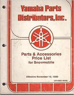 1981 YAMAHA SNOWMOBILE PARTS DISTRIBUTORS PRICE LIST MANUAL Manufacturer Amazon Books