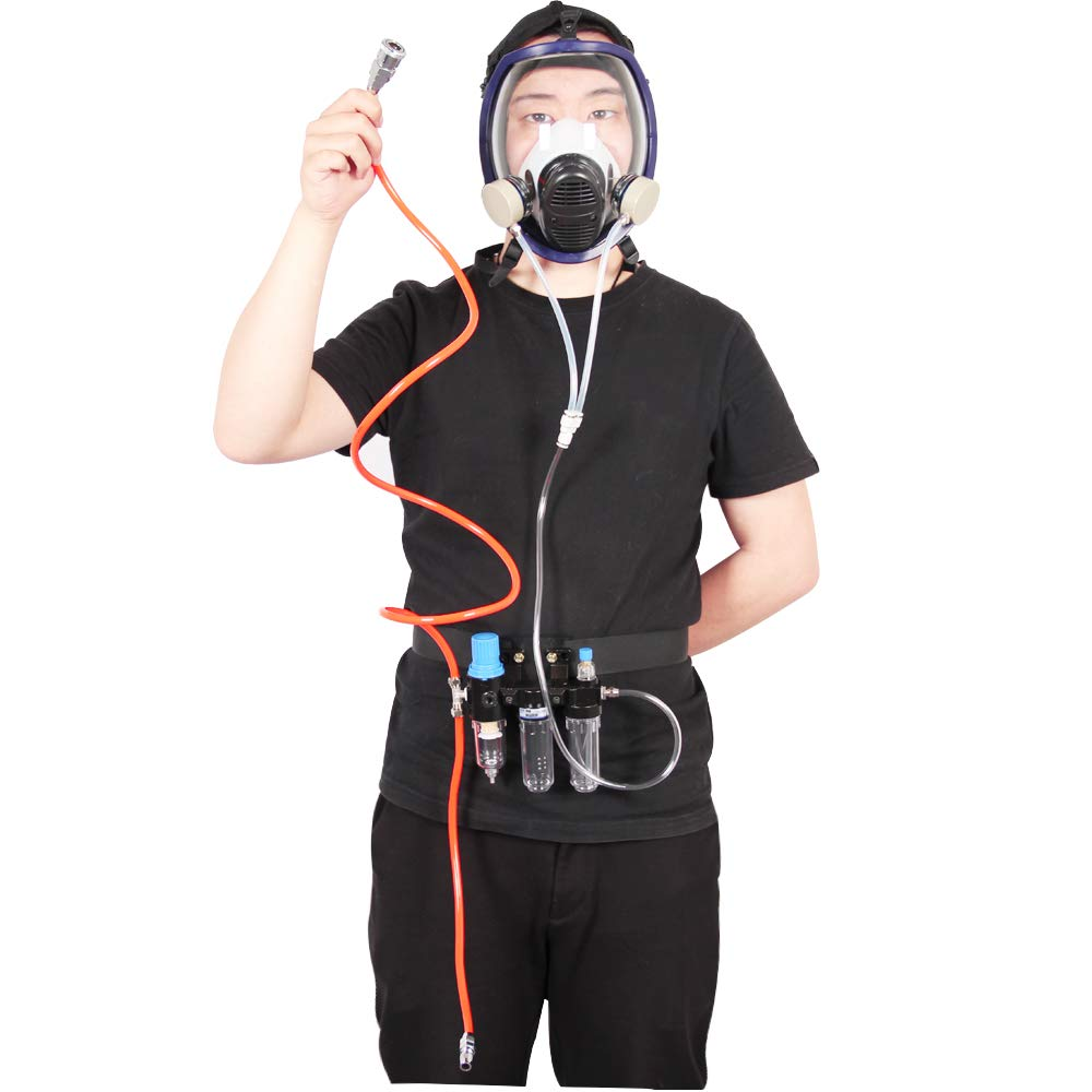 Supplied Air Protective Mask Respirator System for Painting, Painting Spray Gun Can Be Connected to, Air Compressor Mask, Air Fed Mask